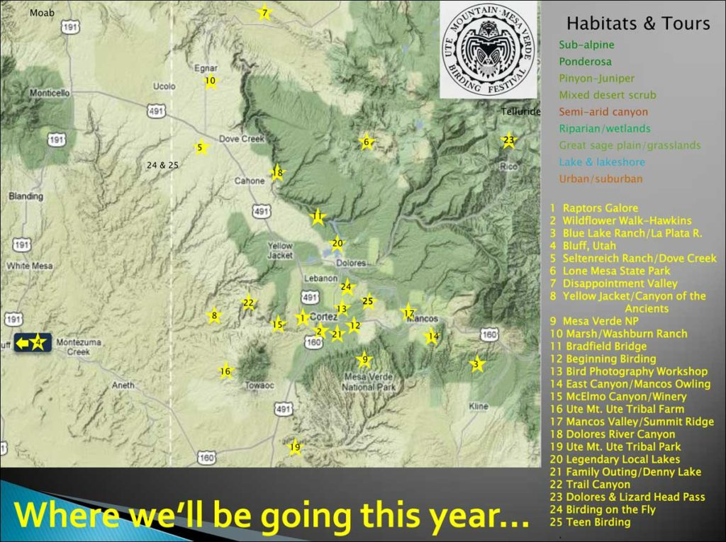 Ute Mountain Mesa Verde Birding Festival Map of Scheduled Tours