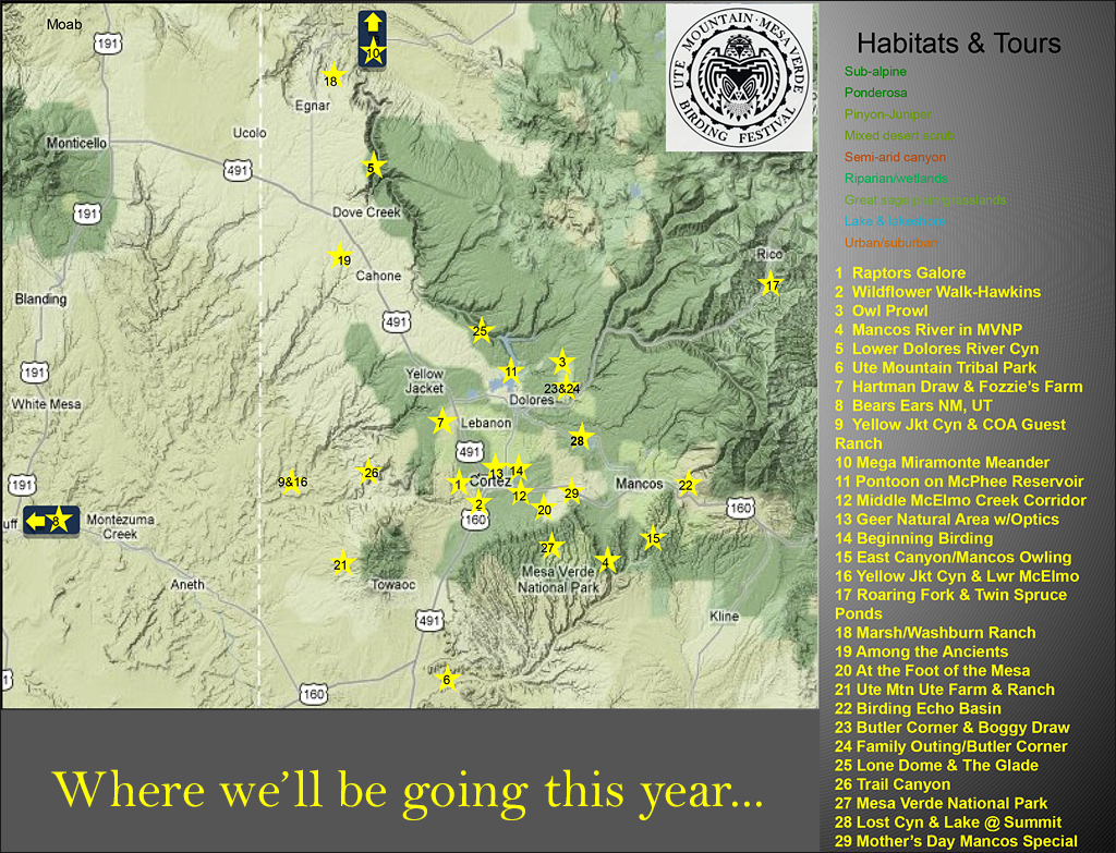Ute Mountain Mesa Verde Birding Festival Map of Scheduled Tours